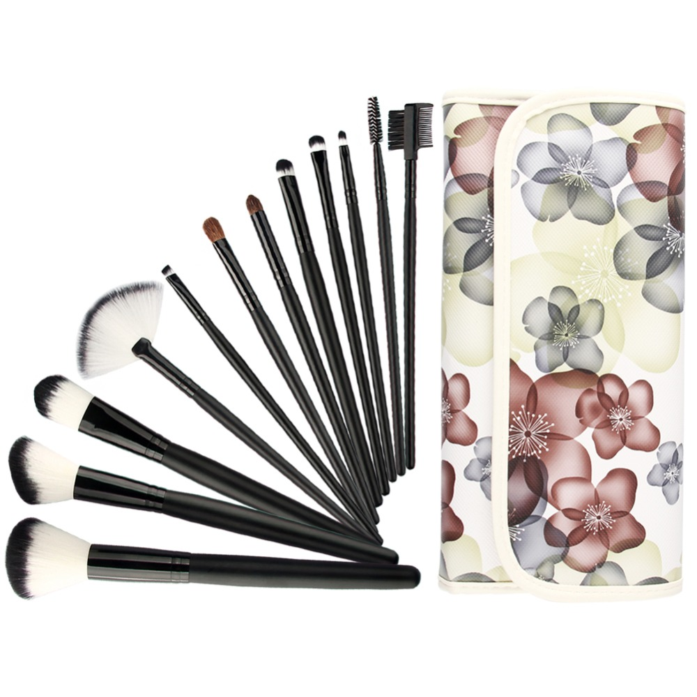Hot sell 12piece professional eyeshadow eyebrow eyelash Makeup Brush Set Tools with flower pouch