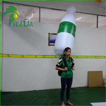 Large Custom Advertising Inflatable Moving LED Bottle / Backpack Inflatable Lighting Balloon