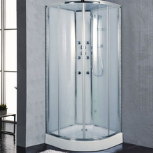 Sliding shower door with tempered glass and aluminium channel