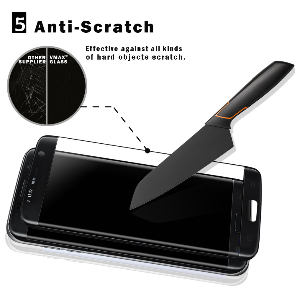 2017 hot sale!!Edge to edge full sceen cover anti-scratch cell phone tempered glass screen protector for Samsung Galaxy S7 Edge
