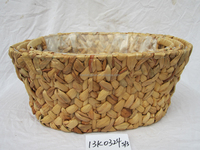 water hyacinth storage basket with plastic liner