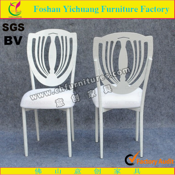 Elegant White Painting Wedding Steel Chair / Iron Chair With Cushion YCX-ZG56