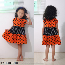 Halloween Boutique Dress for Girls of 3 Years Old,Orange and Black Dot Cotton Baby Dresses
