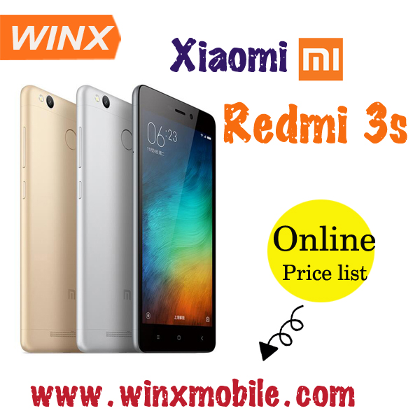Silver Grey Xiaomi Redmi 3s 16GB rom 1080P MIUI 7 unlocked cell phone smart phones