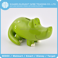 Beautiful animal shaped hippo ceramic coin bank