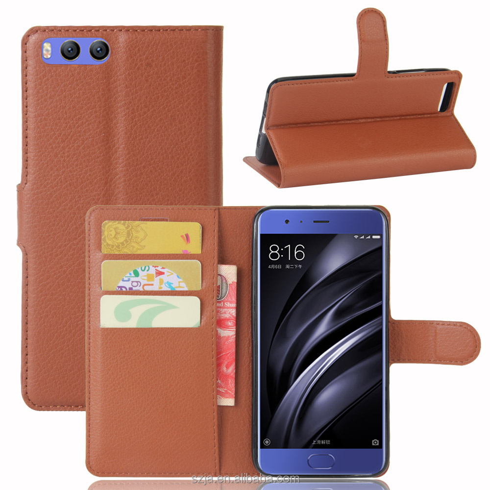 (Support OEM) Factory Price PU Protective Defender Flip Wallet Phone Cover for xiaomi mi6 leather case for xiaomi m6 holster