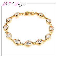 Zircon chain copper bracelet fashion fake gold bracelet jewelry design for girl yiwu factory wholesale