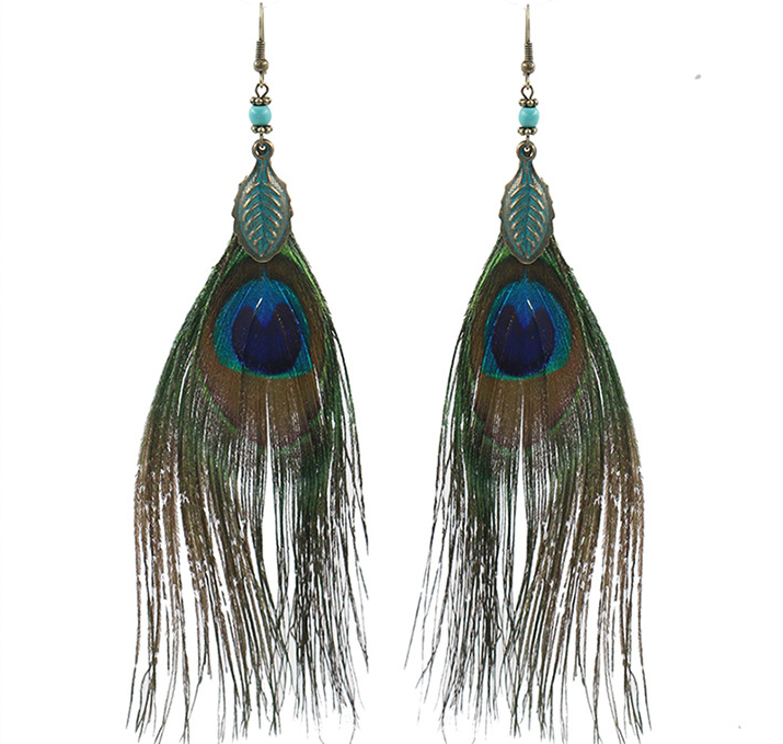 Zenper Factory High Quality Luxury Beads Vintage Design Fashion Jewelry Peacock Feathers Earrings