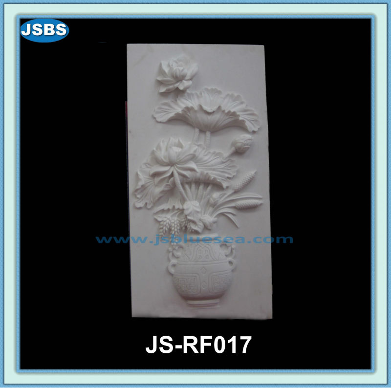 Hand Carved Stone Flower Relief JS-RF017