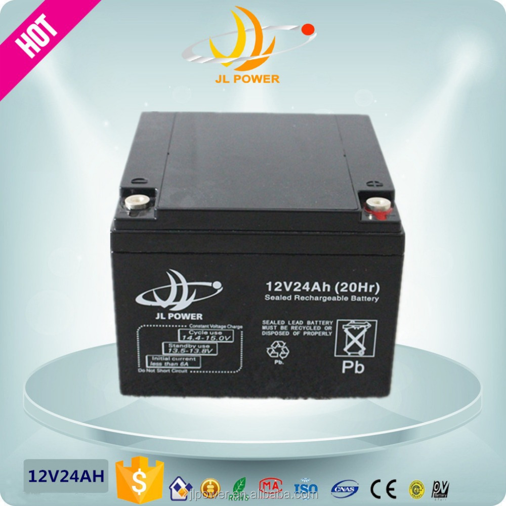 2015 Hot Sales Perfect box shape ups rechargeable 12v 24ah 20hr battery