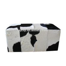 High end vintage square genuine cowhide leather stool