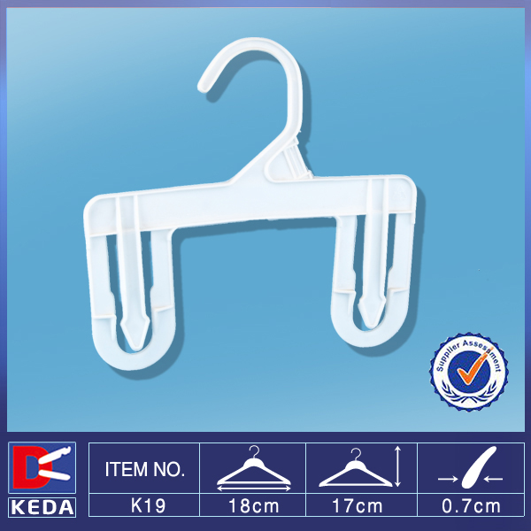 With 5 years no complaint size tag hook pp plastic pants hanger with bottom 2 clips K19