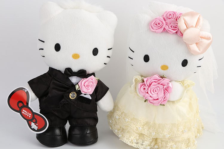 2017 Custom pp cotton soft adorable couples stuffed toy for wedding
