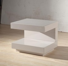 Modern White Color C Shape Wood Bed Side Table With Drawer