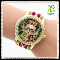 2016 Original new style national style wind woven ladies bracelet watch