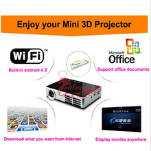 200 inch image shutter 3D Full HD Mini projector DLP600W built in wifi for Andriod system small beamer 1280*800