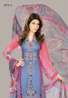Pink & Blue Designer Long Pakistani Suit