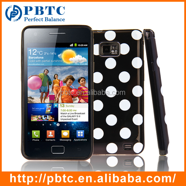 Set Screen Protector And Case For Samsung Galaxy S2 I9100 , Polka Dots Wholesale Cellphone Accessories