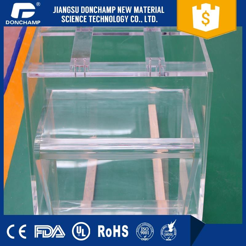 Hot selling glass cylinder tube fish tanks for restaurants artificial fish aquarium with low price