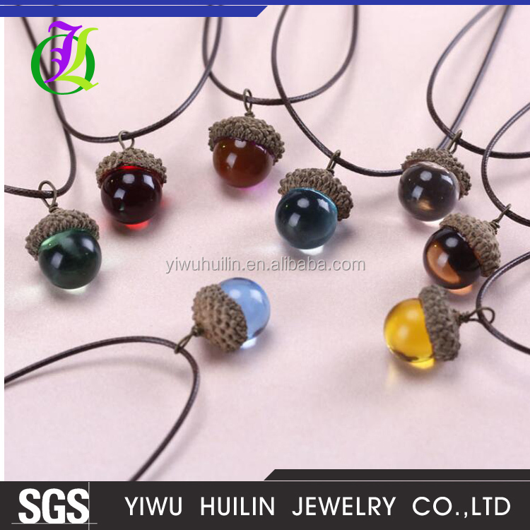 JTN 036 Yiwu Huilin Jewelry New Arrival DIY color pine nuts charm acorn fruit color crystal oak necklace
