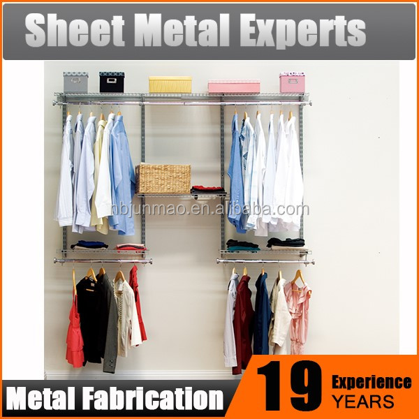 Multipurpose Metal Closet System Portable White Double Rod Freestanding Closet