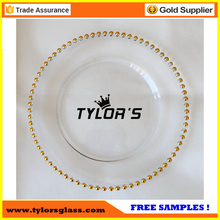 Cheap Wholesale Gold Charger Plates With Beaded Rim For Wedding