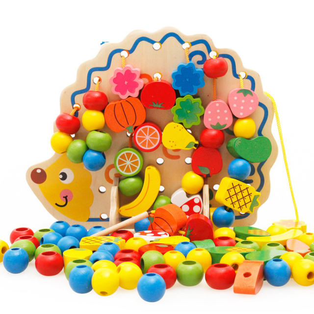 Amazon best selling hedgehog stringing different kinds of fruit wooden bead maze toy