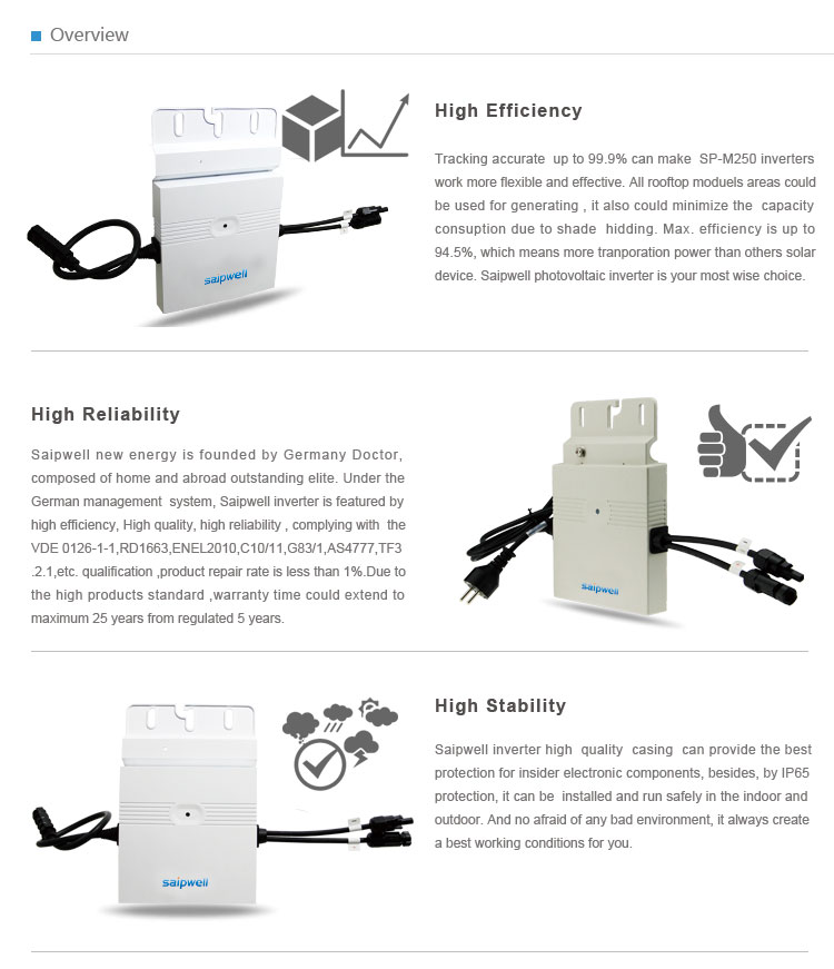 2014 High Quality 250W Micro Inverter for Home Use