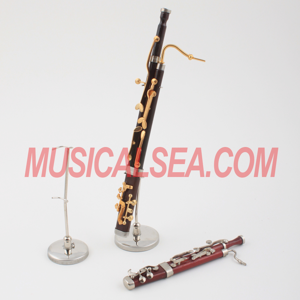 Miniature bassoon model decorative musical instrument ornament for christmas