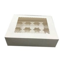 12 holes cupcake muffin box cup cake packaging white kraft paper pastry boxes with window