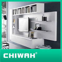white customized living room furniture lcd tv wall units design