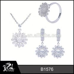 Diamond fashion jewelry silver wedding classical gift set for ladies plata 925 al por mayor