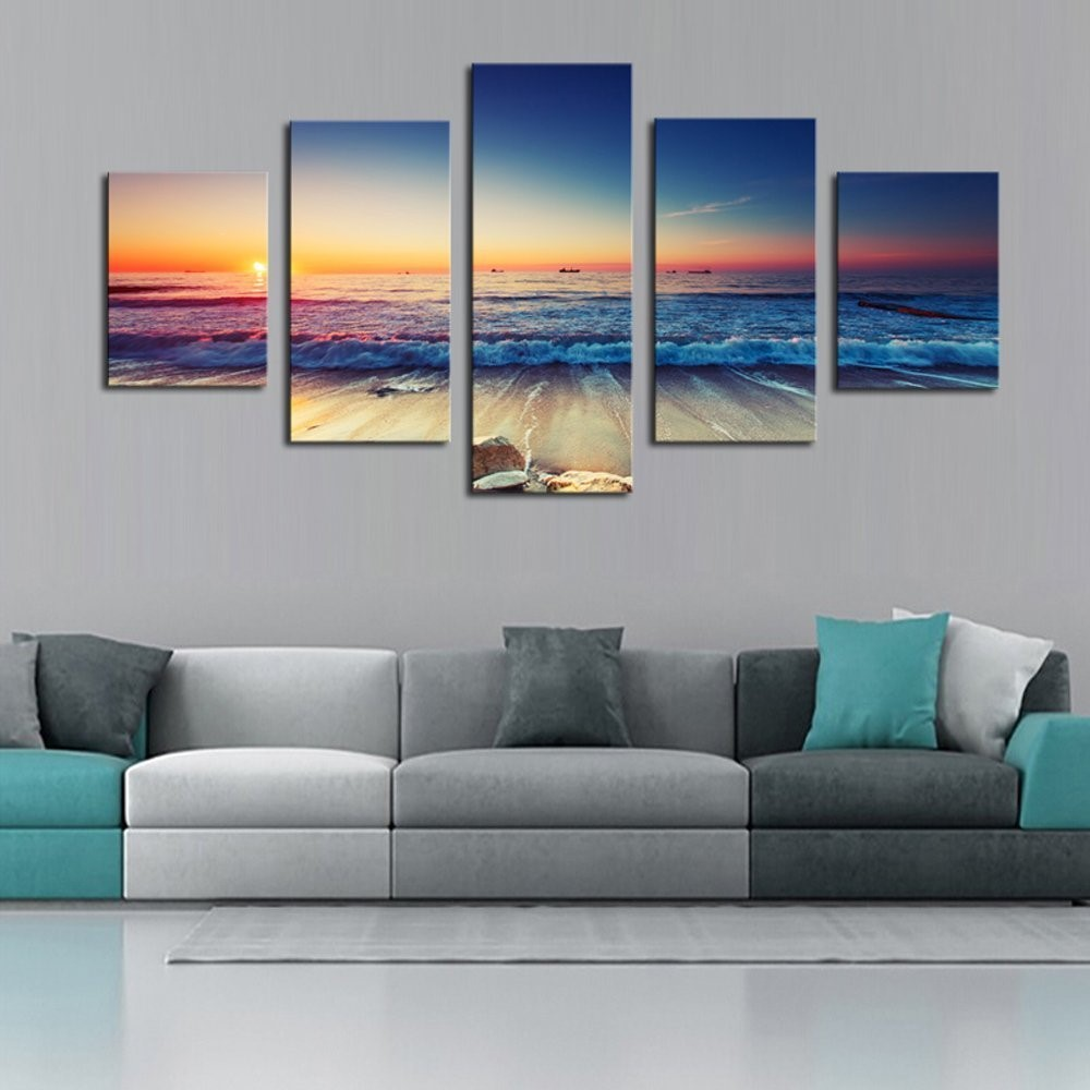 5 panels Framed Wall Art Waves Painting on Canvas