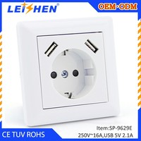 High Speed USB Charger and Duplex Receptacle 2.1A Charging Capability, Tamper Resistant EU standard Outlet