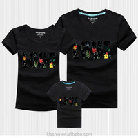 2015 NEW design parent child t shirt, fancy wholesale couple t shirt, high quality custom family sublimation printing t-shirt