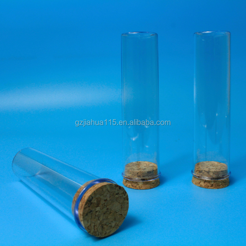 clear plastic test tube with cork