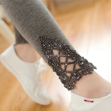 YJB55 spring nine Leggings foot mouth lace diamond ladies long tops for legging skin tight leggings pictures