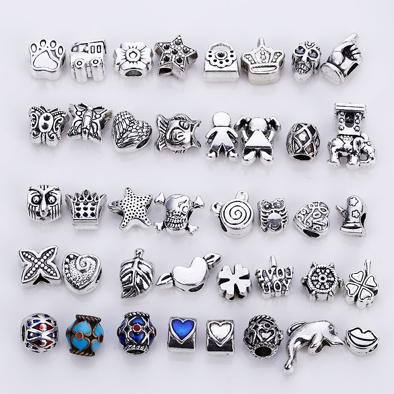Big Hole Beads Fit Charms Antique Silver Metal Zinc Alloy Mixed DIY Charm Beads & Jewelry Making