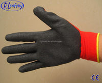 RL Safety 10 gauge String working gloves latex dippedwrinkle palm yellow Liner safety gloves