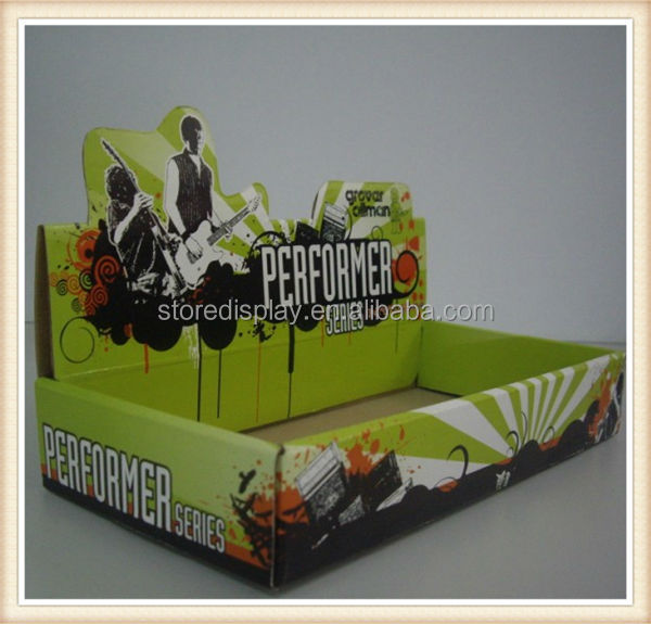 Music CD counter corrugated cardboard pop counter display shelf/ paper floor display stand with hooks for socks and snacks