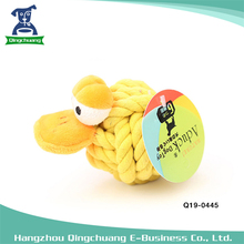 Duck shape cotton rope pet dog toy rope ball with molar and clearing teeth
