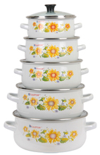 5pcs Enamel Casserole Sets / Cast Iron Enamel Ceramic Cooking Pot/ Full Flower Decal Enamel Cookware With Glass Cover