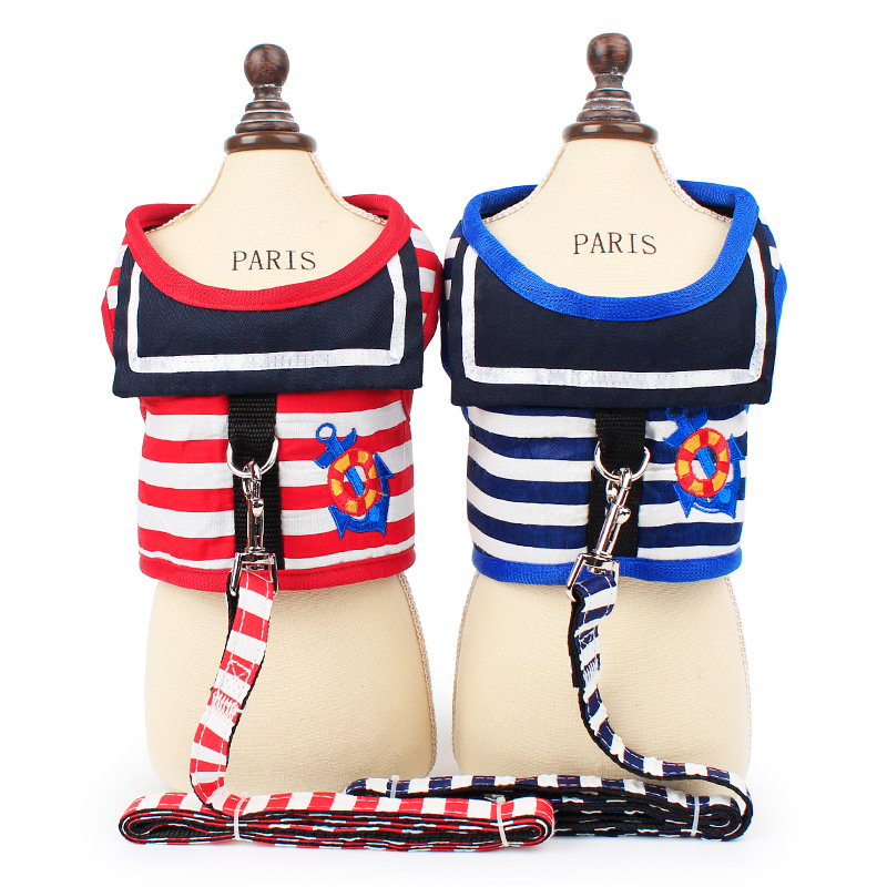 2017 summer best-selling naval collar anchor embroidered striped pet thoracodorsal leash with traction rope