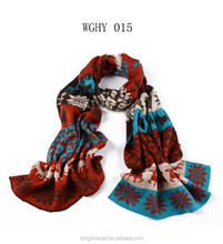 2015 Winter Girl's most fashionable knitted combo color yarn classic jacquard pattern long scarf shawl pashmina scarf
