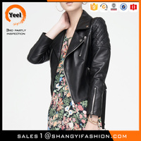 YEEL wholesale cheap vintage leather jackets woman biker/motorbike/motorcycle jacket