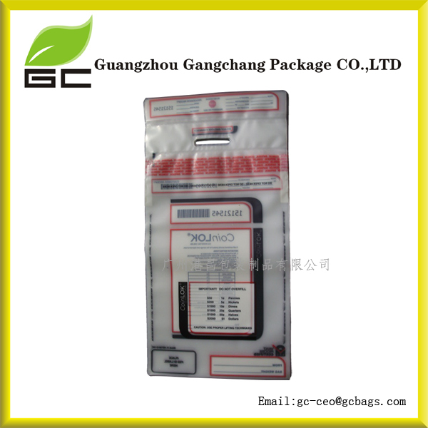 PE plastic security cash money tamper evident bag in stock
