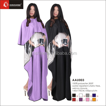 hair capes polyester with window salon gowns