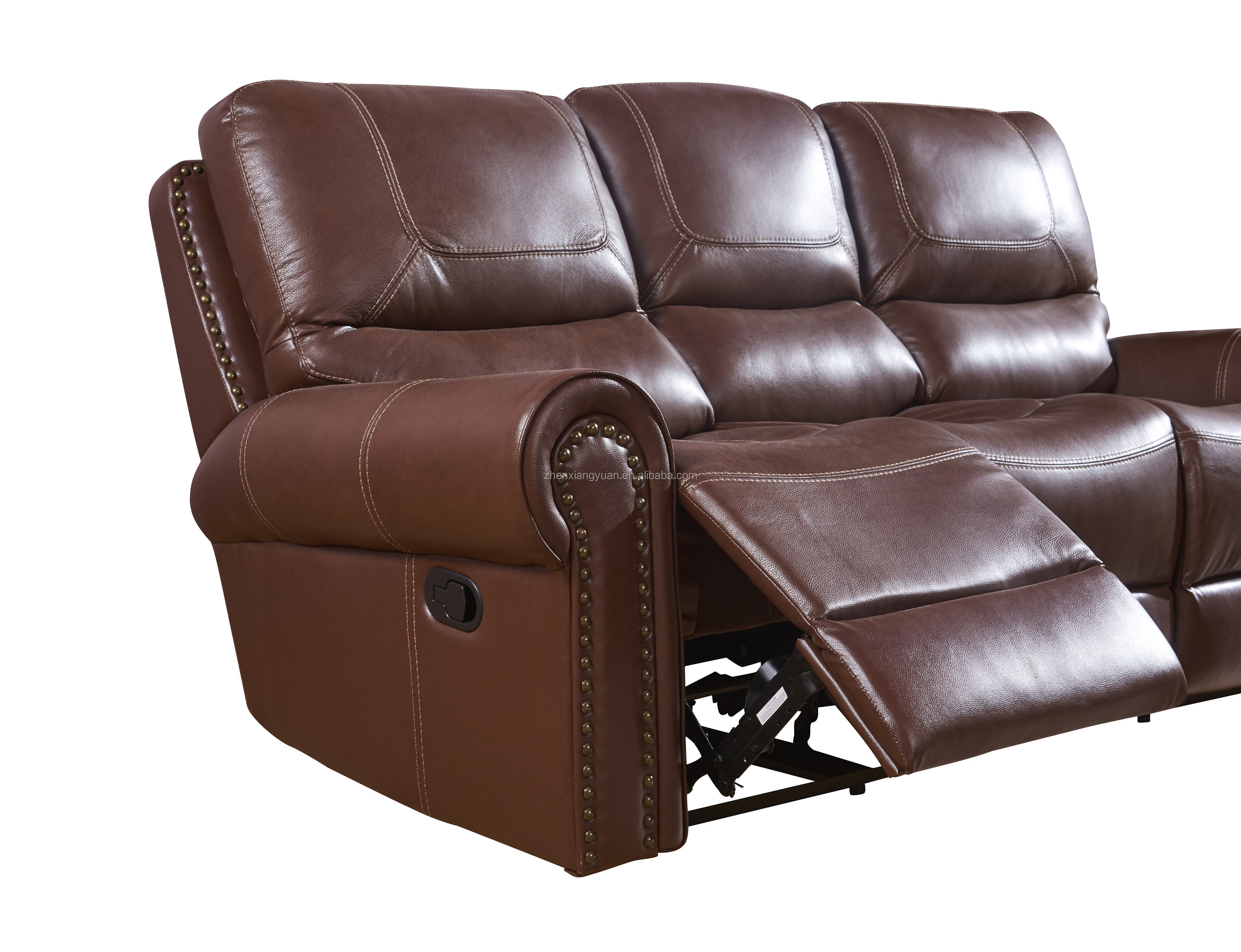 Living room  sales recliner sofa set brown  leather sofa set with nail and dressing bar