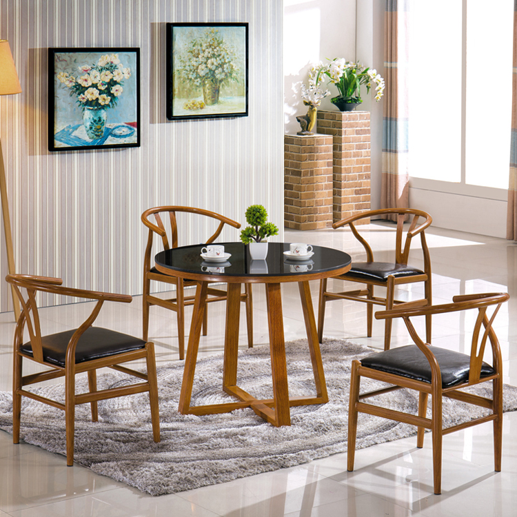 New designs metal base malaysian solid wood round dining table and chairs sets