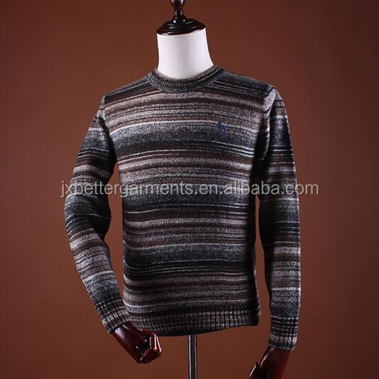 BGA16007 Male casual wear acrylic stripped round neck knitted pullover sweater